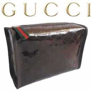 GUCCI Brown Signature Cosmetics Case